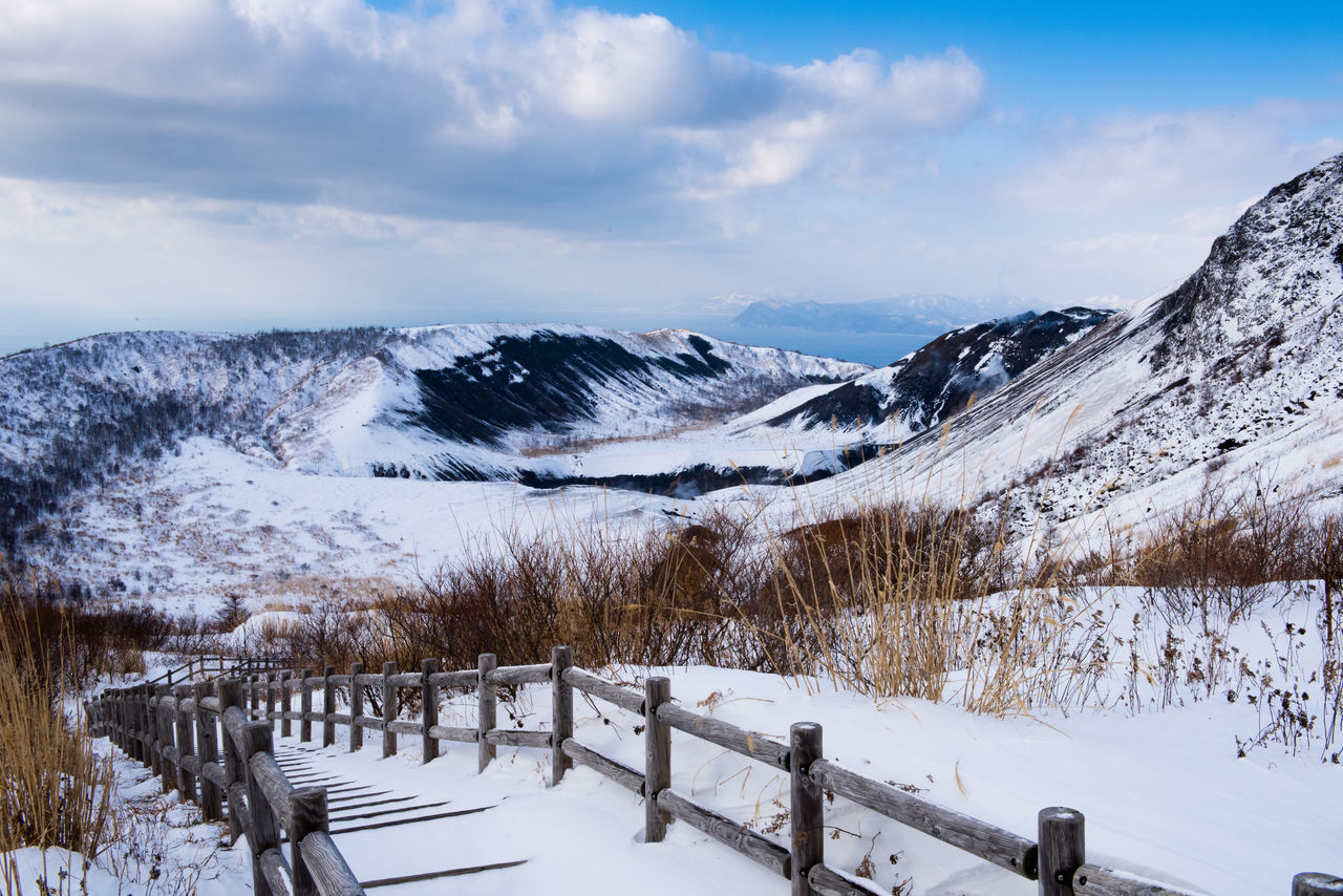 Fence On Snow Covered Field By Mountain