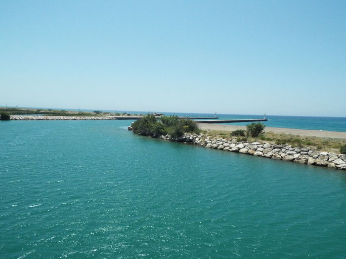 Where the river meets the sea Day Trip Travel Photography Travel Destinations Tourist Attraction  Tourism Blue Sky Blue Water Sea River Mediterranean Sea Manavgat River River Mouth Mouth Of Manavgat River Mouth Of The River On The Way