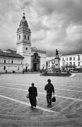 Santo Domingo church in Quito, Ecuador History Built Structure Cloud - Sky People Sky Architecture Outdoors Building Exterior Day City Architecture Quito Old Town Church Historic Ecuador Heritage Blackandwhite Black And White Streetphotography