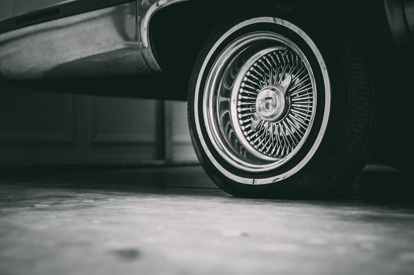Black & White Lowrider Black And White Blackandwhite Blackandwhite Photography Close-up D'Sunne Gniese Day Evanscsmith Indoors  Lowriders No People Photographerinlasvegas Tire Transportation Wheels