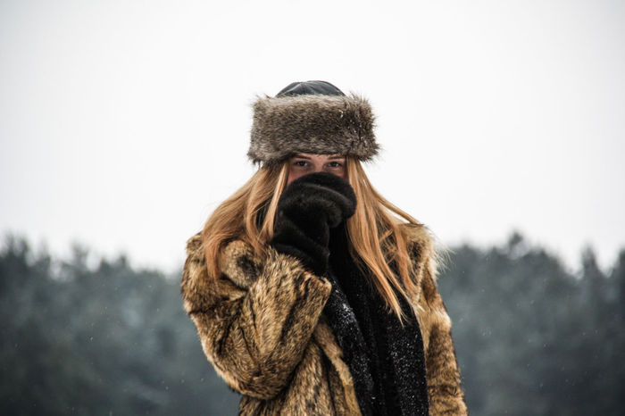 Clear Sky Close-up Cold Cold Temperature Day Focus On Foreground Fur Model Outdoors Portrait Sky Snow Warm Clothing Winter Winter