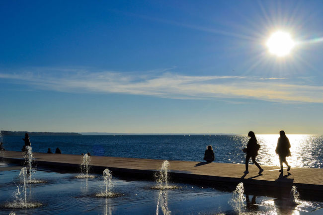 When the streets are close to the sea Thessaloniki Salonicco Greece Grecia City Sea Fountain Reflection Water Sky Silhouette Sunlight People Outdoors Day Horizon Over Water The Street Photographer - 2017 EyeEm Awards Your Ticket To Europe Colour Your Horizn Stories From The City Adventures In The City