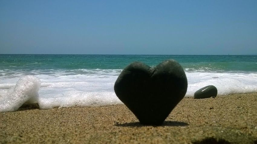 Sea Love Beach Beauty In Nature Clear Sky Heart Horizon Over Water Rock Sand Sea Stone Wave
