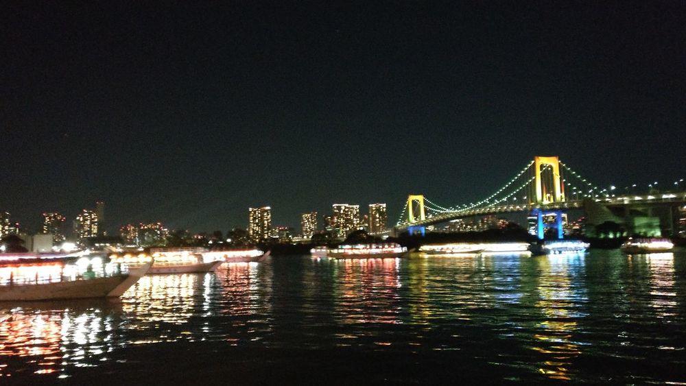 Gorgeous view of rainbow bridge from Yakatabune. Cruise, tokyo, Odaiba, Japanese  Japan Photos Landscape No People Night, Sea, Water, Ship