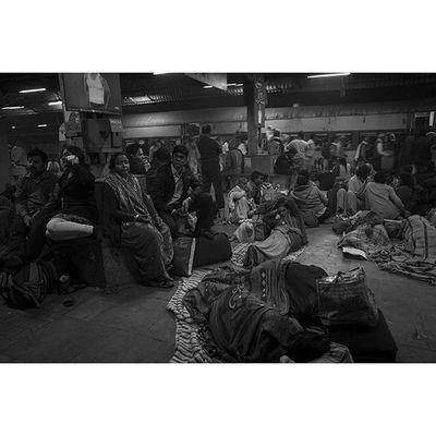 A crowded train station in Allahabad, Uttar Pradesh India Ganges Bw Bnw monochrome blackandwhite streetphotography streetlife reportagespotlight street humaninterest photodocumentary photojournalism asia everydayasia ontheroad reportage documentary streetphotography_bw streetphoto crowds