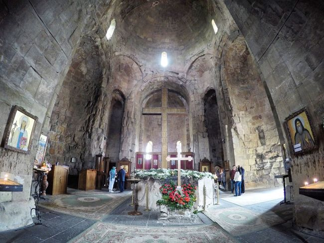 Altar Arch Architecture ASIA Beautiful Caucasus Fisheye FishEyeEm Flower Georgia Gopro Goprohero4 Illuminated Indoors  Jvari Jvari Monastery Mccheta Monastery Monastery Of Stone Orthodox Church Place Of Worship Religion Spirituality Spring Tbilisi