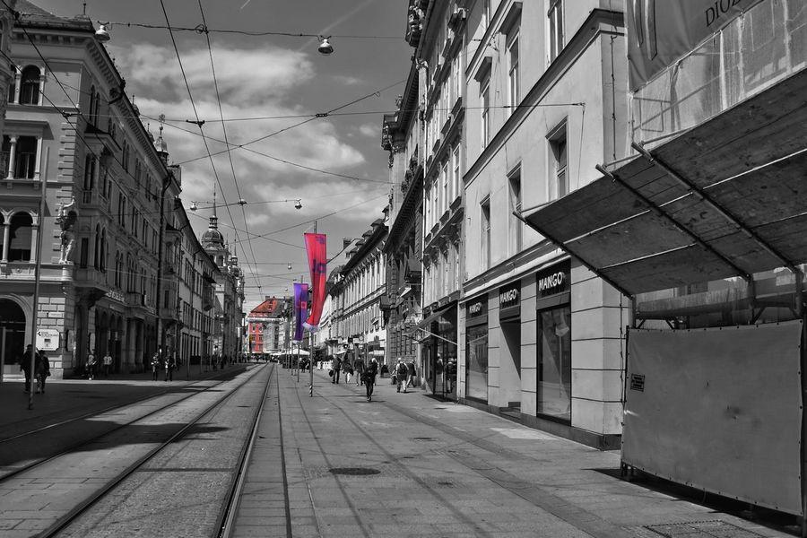 Lines ... Flag Architecture Building Exterior Built Structure Sky Outdoors Graz Austria Colorsplash Day City No People