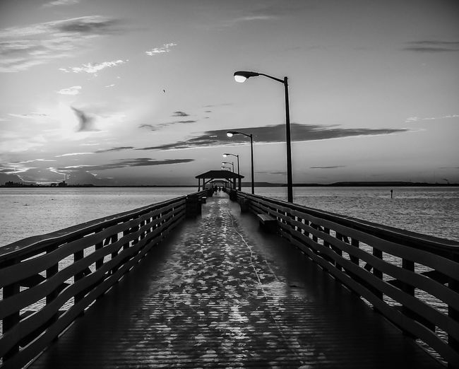 Black & White Beauty In Nature Black And White Black And White Photography Cloud - Sky Day Horizon Over Water IPhone Photography IPhoneography Railing Tranquil Scene Tranquility Water