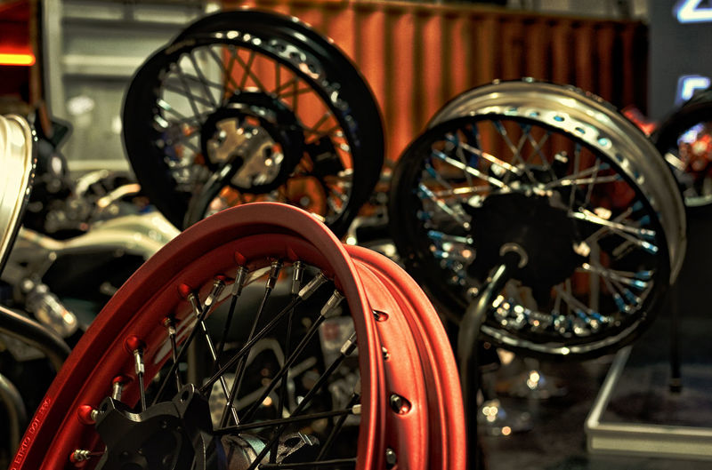 Close-Up Of Motorcycle Wheels At Workshop