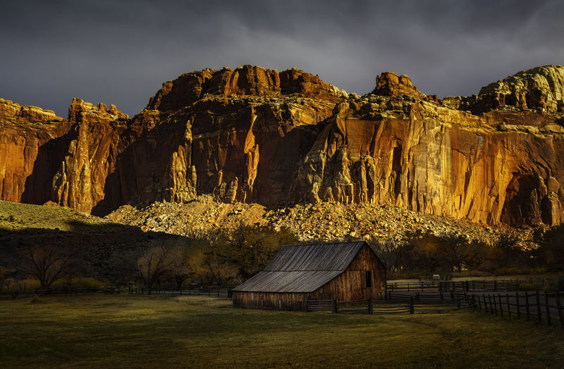Capitol Reef National Park is a hidden wonder of beauty few people travel to visit. No People Capitol Reef National Park National Parks Adventure Travel Travel Photography Nature Nature Photography Outdoors Outdoor Photography Landscape Landscape Photography Rocks Clouds Colors Desert Sky Scenic View Scenery Trees Landmark Fruita Barn Mountain Mountain Range