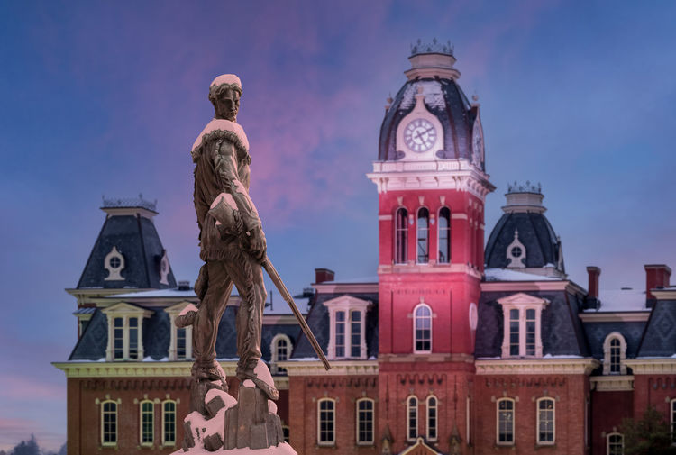 Low angle view of statue against building and sky