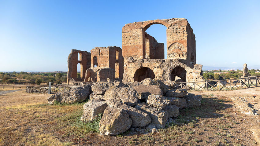 Famous Villa dei Quintili, archaeological site of Rome. Roman villa of the first half of the 2nd century. Archeology Imperial Palace Rome, Italy Ancient Civilization Architecture Built Structure Clear Sky Day History No People Old Ruin Outdoors Sky Travel Destinations Villa Dei Quintili