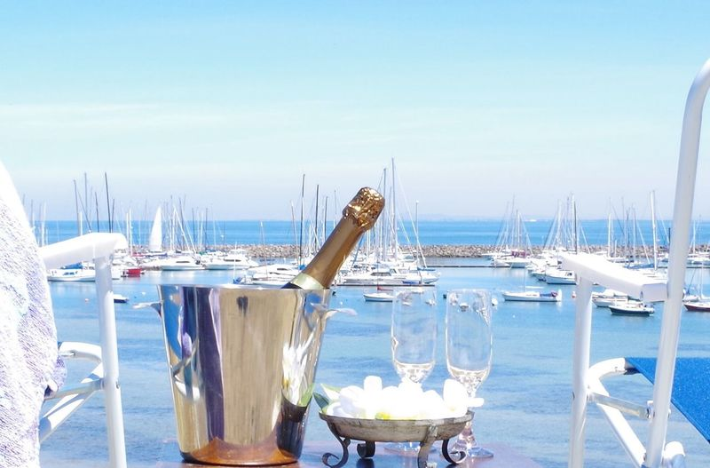 Celebrating Outdoors Beverage Champagne Weekend Activities Relaxing Carefree Sea View Holiday Blue Sky Liquid Lunch