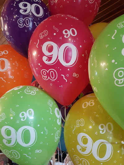 90th birthday Balloons 90 90th Birthday Birthday Colorful Full Frame Variation Close-up Helium Balloon