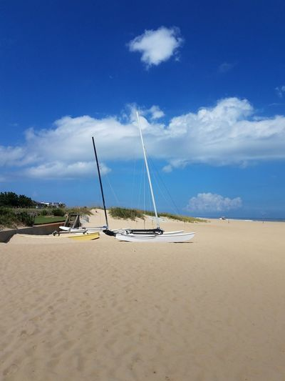 Sailboats Duned Sea Sky Land Water Beach Nautical Vessel Cloud - Sky Sand Environment Nature Beauty In Nature Scenics - Nature Landscape Transportation Blue Tranquility Tranquil Scene Travel Mode Of Transportation Outdoors