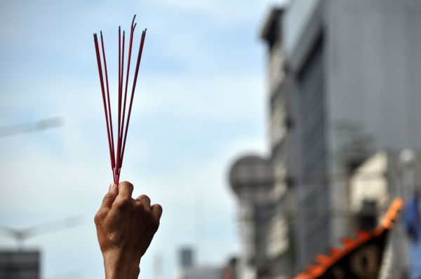 Incense Incense Incense Sticks Festival Culture ASIA Jakarta INDONESIA Capgomeh Pray Human Hand Human Body Part One Person People Holding City Sky Travel Destinations Close-up Outdoors Day