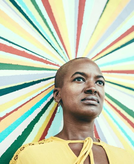 Kaleidoscope Natural Light Portrait Bald Head No Makeup Beautiful Woman Fujifilm_xseries GFX50s Photographyisthemuse Street Portrait Woman Portrait Multi Colored One Person Portrait Young Adult Shaved Head Headshot Adult Outdoors Close-up Day Looking At Camera Fresh On Market 2017
