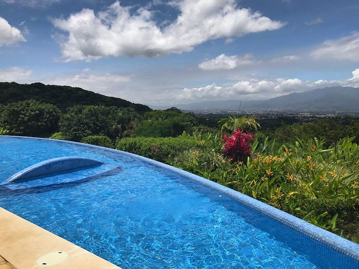 Nature Growth Beauty In Nature Sky Water Day Tranquil Scene Flower Cloud - Sky Blue Scenics Plant Mountain Tranquility No People Outdoors Swimming Pool Tree Freshness View Nature_collection Costa Rica Nature Photography Back To Nature Enchanted Forest