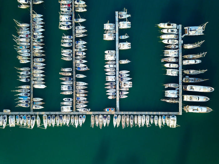Aerial View Of Boats Moored Marina