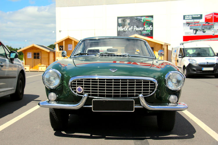 1800 Car Centered Chrome Classic Classic Cars Collector's Car Day Front View Green Headlights Outdoors P1800 P1800ES Parking Lot Racing Green Retro Vintage Volvo