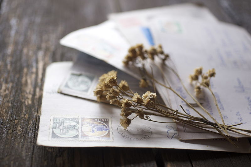 Close-up of dried flowers on mails at wooden table