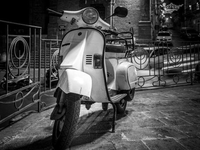 Classic Motorcycle Retro Scooter Sicily Vespa Black And White Day Italian Italy Monochrome Night No People Outdoors Piaggo Vespavintage Vintage