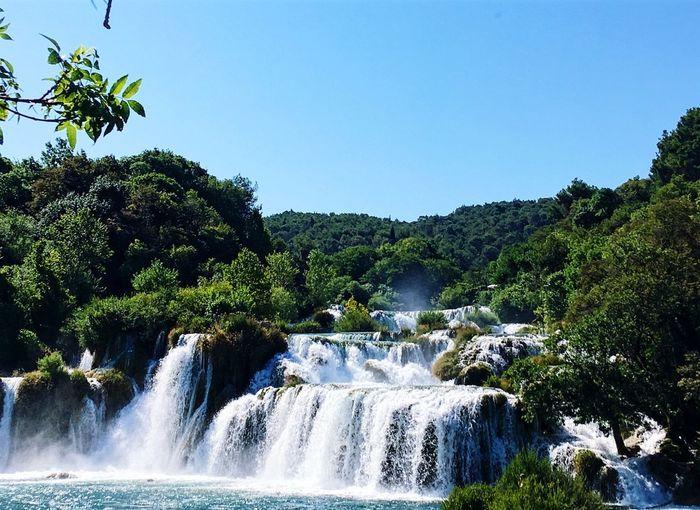 Krka National Park Croatia National Park Skradinski Buk Plant Tree Water Sky Nature Beauty In Nature Scenics - Nature Flowing Water Clear Sky Waterfall Long Exposure Sunlight