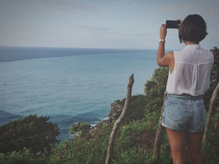 The Great Outdoors - 2017 EyeEm Awards Dominican Republic Caribbean Barahona Ocean View Sea Real People Rear View One Person Horizon Over Water Beauty In Nature Scenics Nature Outdoors Day Sky Photographing Outdoorlife Outsideculture Wilderness