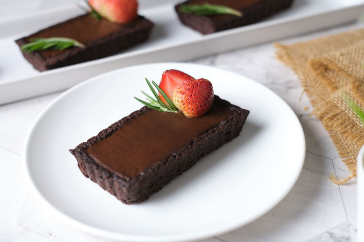 Close-up of cake served in plate