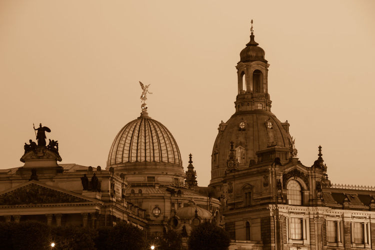 Dresden at night Art Is Everywhere Church Cityscape Dome Of The Rock Silhouette Skyline Architecture Building Exterior Built Structure City Day Dome Historic History Low Angle View No People Old Buildings Outdoors Sculpture Sepia Sky Statue Sunset Travel Travel Destinations