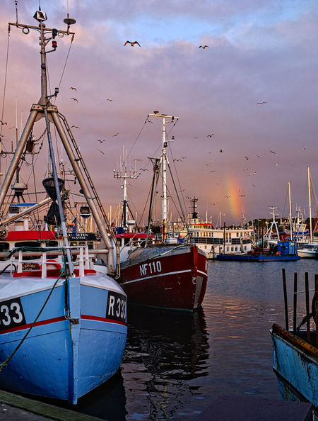 Beauty In Nature Cloud - Sky Day Fishing Gilleleje Harbor Mode Of Transport Moored Nature Nautical Vessel No People Outdoors Rainbow Sea Sky Transportation Water