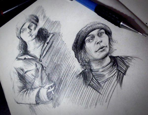 """Sketching Charcoal Portrait Moleskine Doodle Sketchbook Drawing Doodling Art Villevalo """"the sacrament is you""""🎧"""