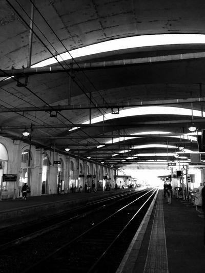 A train station~Une gare (火车站) Train Station Railwaystation Black And White France Nîmes