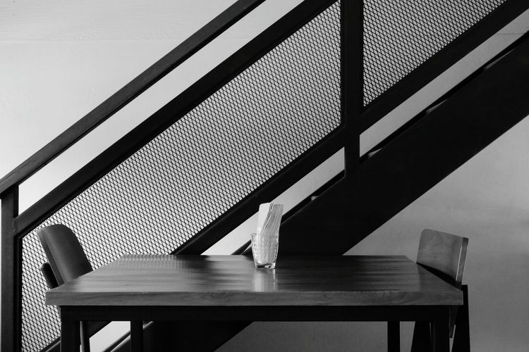 Cafe Table Steps Blackandwhite Black And White Black & White Blackandwhite Photography Milk Table Wood - Material Piano Close-up Architecture Steps And Staircases