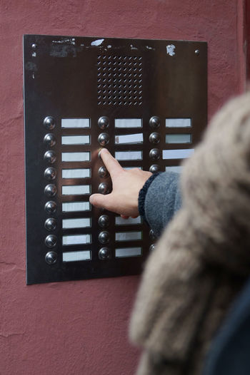 Blank Building Close-up Door Bells Doorbell Finger Hand Human Hand Intercom Many Outdoor Pressing Pushing Residential Building Ring Ringing Unrecognizable Person