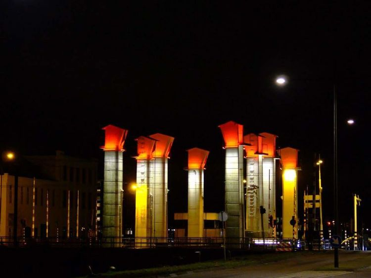 Lights Bridge Helmond Night Art No People