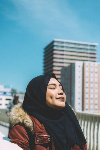 Portrait Of A Woman Portrait Portrait Photography Portraits City Young Adult City Life One Person Lifestyles Real People Women Outdoors Young Women Adult People Sky Grief Day EyeEm Best Shots Eye4photography  EyeEmBestPics EyeEm EyeemTeam EyeEmMalaysia Smile