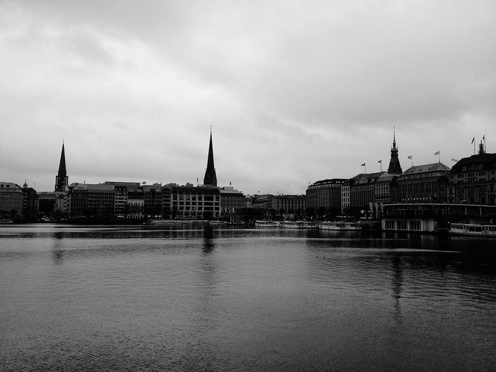 Hamburg. · Germany 040 Hamburgmeineperle Binnenalster Alster Water Water Reflections Cityscape Skyline Urban Landscape Urban Photography Architecture Church Towers Cloudy Clouds Black And White Black & White Monochrome