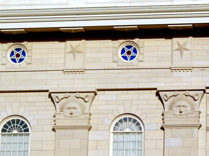 Sun and moon Low Angle View Building Exterior Architecture Built Structure Window No People Day Outdoors Arch Clock Sunstone Nauvoo Nauvoo Temple Lds Temples Lds Mormon