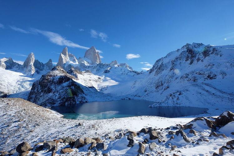 Laguna de los tres Patagonia Argentina Mount Fitz Roy Argentina Scenics Landscape Blue Sky Snow Still Beauty In Nature Hike Trek Mountain Snow Cold Temperature Winter Glacier Water Rock - Object Ice Frozen