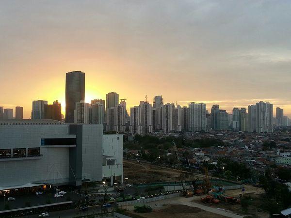 Sunset, jakarta, city, indonesia