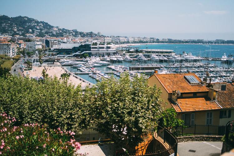 Cannes Côte D'Azur France Harbor Mediterranean  City Cityscape Port Roof Sea