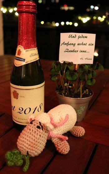 Ich wünsche euch einen angenehmen Jahreswechsel und alles Gute für 2018 ! Bin schon auf viele tolle Fotos im neuen Jahr gespannt ! Crochet Silvester Jahreswechsel Wunsch Wish Selfmade Handmade Bottle Sekt Sheep Glück Text Bottle No People Close-up