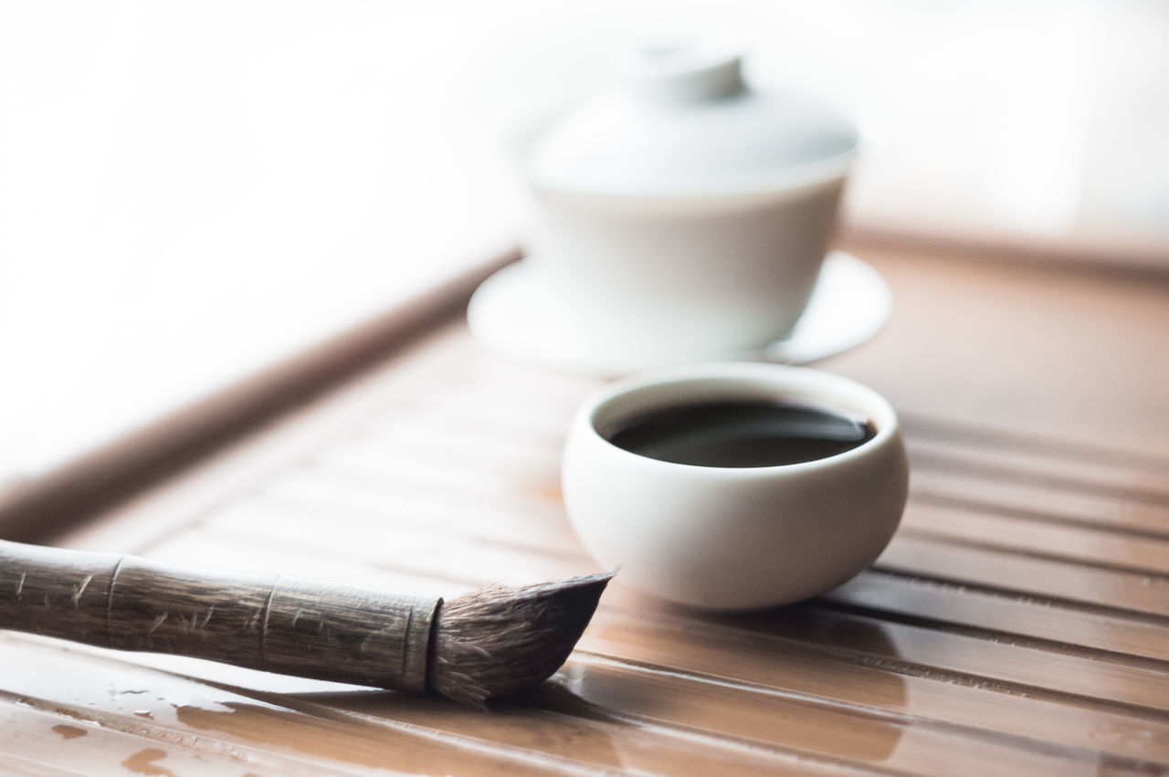 Close-up of pu-erh tea on tray