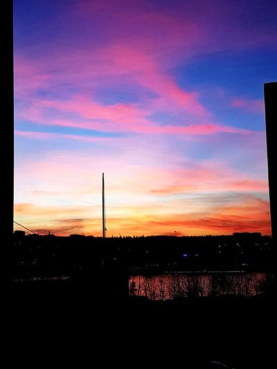 Pinksky Pink Blue Hello World Hello EyeEm Followme Like Sunset Silhouette No People Scenics Sky Sport Outdoors Nature Beauty In Nature Day