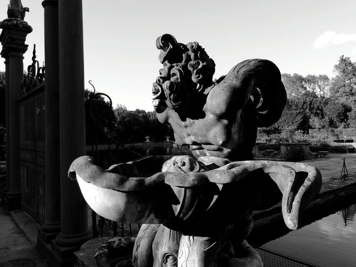 Neighborhood Map Florence Italy Giardino Di Boboli Black & White Sculpture Garden Sculpure