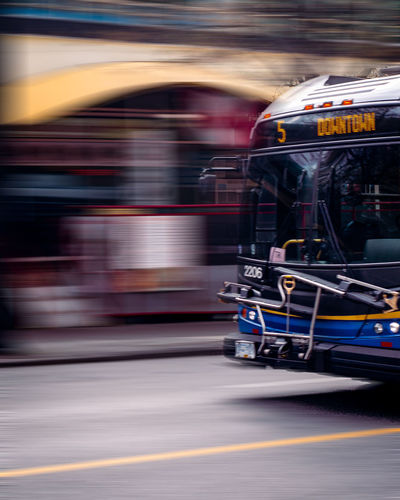 Motion Blurred Motion Transportation Mode Of Transportation Speed on the move City Public Transportation Architecture Land Vehicle Road Street Travel City Life Driving Bus