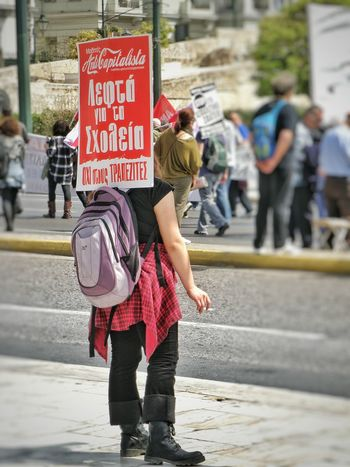 April 2016 Strike! Real People Protesting Against Poverty Protesters On The Streets Greek Parliament Syntagma Square Athens Athens, Greece Streetphotography Street Photography