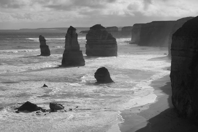 Monochrome Photography EyeEm Nature Lover EyeEm Gallery Beauty In Nature Sea Majestic Shore Outdoors Geology Scenics 12 Apostles