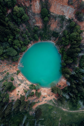 High angle view of  blue lake and trees